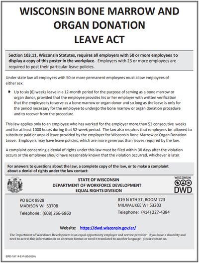 Bone Marrow And Organ Donation Leave Act poster